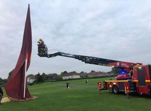 Firefighters called after hot air balloon gets stuck on rugby posts