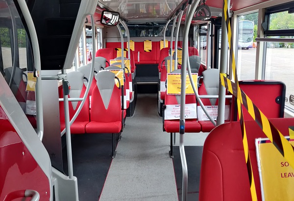 Socially-distanced bus with taped-off seats goes on trial on Bristol route