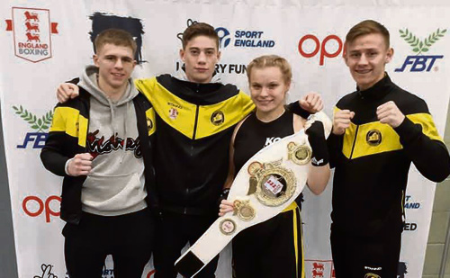 Ellouise Challenger, Bradley Smith, Jack Oram and Taylor Andrews after their bouts in Banbury