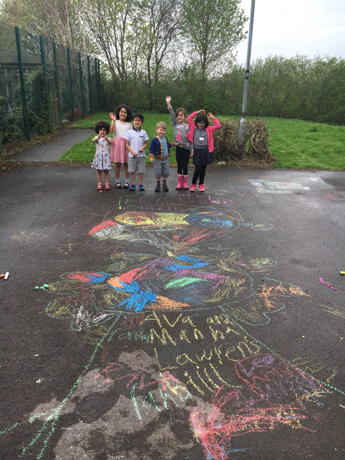 Pupils tackle chalk challenge